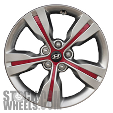 Picture of Hyundai VELOSTER (2012-2015) 18x7.5 Aluminum Alloy Chrome  (for use with TPMS Sensor) 5 Spoke [70813A]